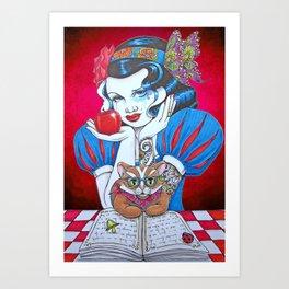 Snow White & Cat Art Print