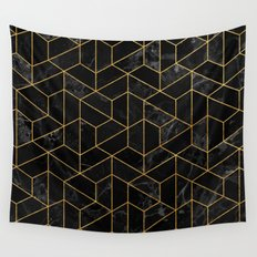 Black Marble Hexagonal Pattern Wall Tapestry
