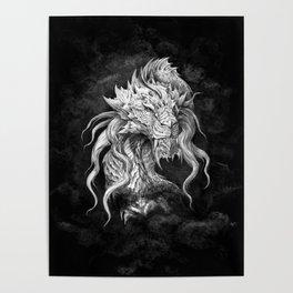 Dark Side Japanese Dragon portrait on black background | Graphit Poster