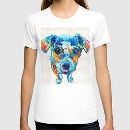 Colorful Little Dog Pop Art by Sharon Cummings T-shirt