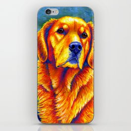 Colorful Golden Retriever Dog Portrait iPhone Skin