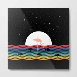 Colorful Flamingo Starry Night Metal Print