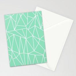 Geometric Cobweb (White & Mint Pattern) Stationery Cards