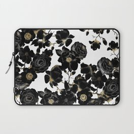 Modern Elegant Black White and Gold Floral Pattern Laptop Sleeve