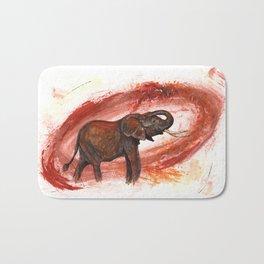 African Elephant Having a Mud Shower Bath Mat