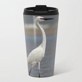 White Morph Reddish Egret Travel Mug