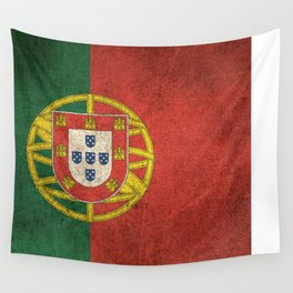 Old and Worn Distressed Vintage Flag of Portugal Wall Tapestry