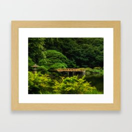 Japanese Garden Bridge over Calm Pond Framed Art Print