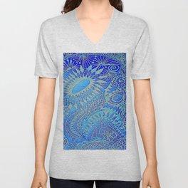 Blue pattern Unisex V-Neck