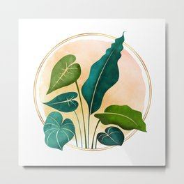Opening Act / tropical greenery with metallic accent Metal Print