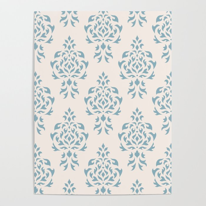 Crest Damask Repeat Pattern Blue on Cream Poster