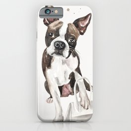 dog with bag / fashion watercolor illustration iPhone Case