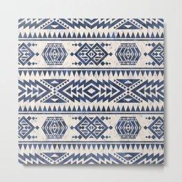 Aztec Folk Pattern Blue Metal Print
