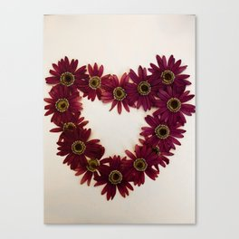 Red Flower Heart Canvas Print
