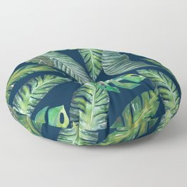 Jungle Leaves, Banana, Monstera, Blue Floor Pillow