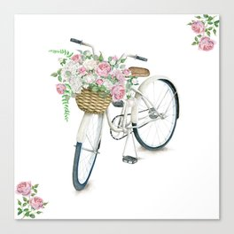 Vintage White Bicycle with English Roses Canvas Print