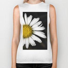 White daisy floating in the dark #3 Biker Tank