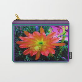 Yellow-Orange Tropical Jungle Flower Teal- Puce  Art  Carry-All Pouch