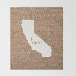 California is Home - White on Burlap Throw Blanket