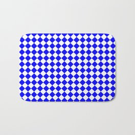 Small Diamonds - White and Blue Bath Mat