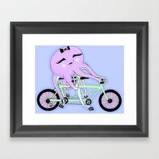 Octopus on a Tandem Bike (Color) Framed Art Print