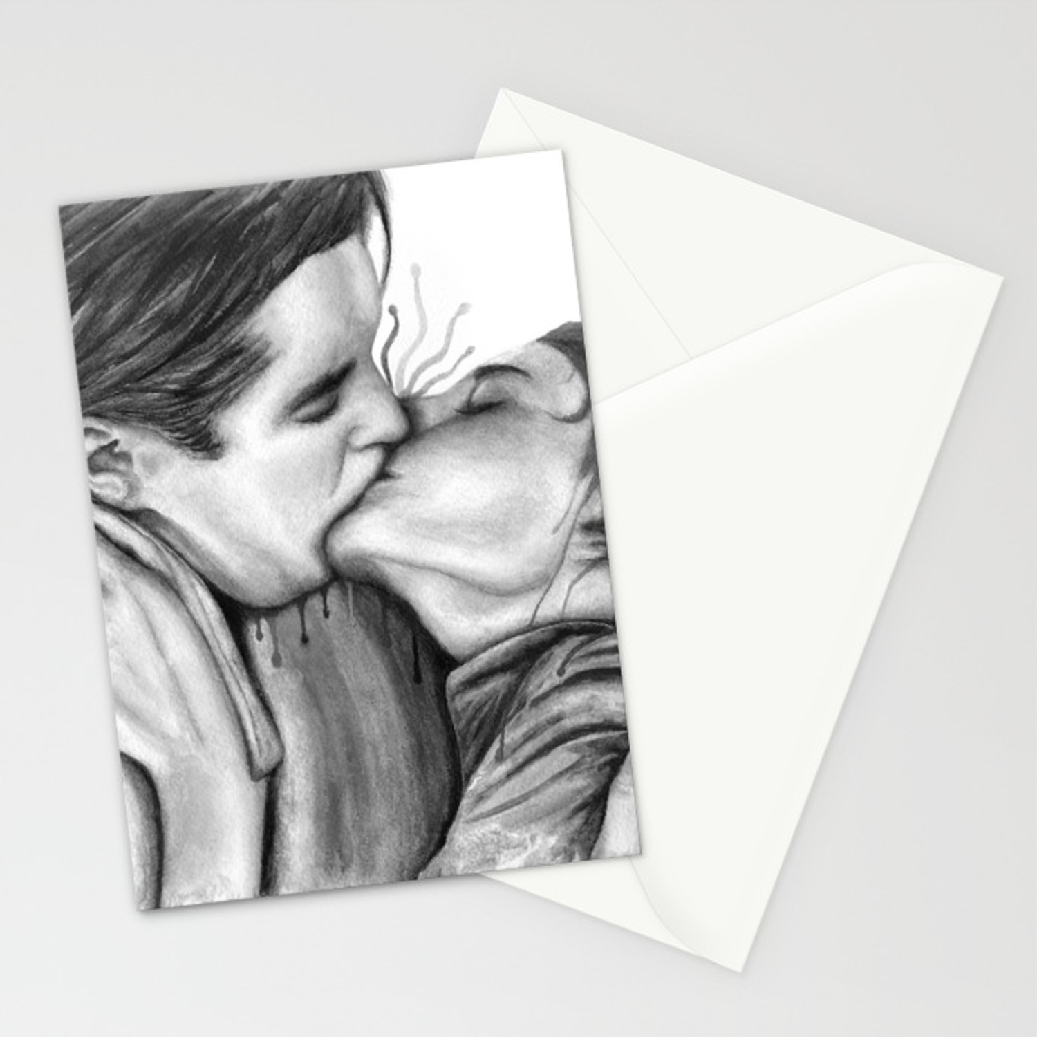 Cinema kiss blackwhite love art illustration romance lovers relationship couple drawing kiss stationery cards by nymphainna society6