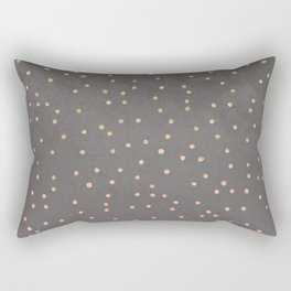 Gold glitter blush pink ombre confetti polka dots grey cement concrete Rectangular Pillow
