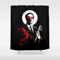 lawyer Shower Curtains featuring St. Matthew and the Devil Inside by Irene Flores