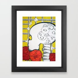 Gears and Pipes Skull Framed Art Print