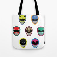power rangers Tote Bags featuring Rangers by Ocelotdude Designs