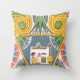 Vintage Pastel Tribal Geometric Floridian Egyptian Pattern Throw Pillow
