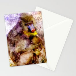 BABOON MOTHER AND BABY Stationery Cards