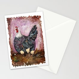 Blue Hen With Chicks Transparent Stationery Cards