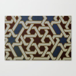 Red Blue and Gold Mosaic Painted tile   Canvas Print