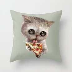 CAT LOVES PIZZA Throw Pillow