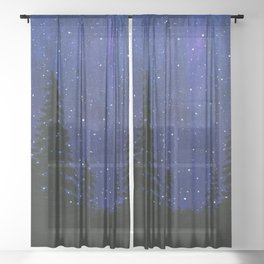Twinkle, Twinkle, Stars Night Sky Painting Sheer Curtain