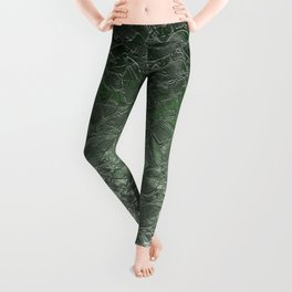 Grunge Relief Floral Abstract G167 Leggings