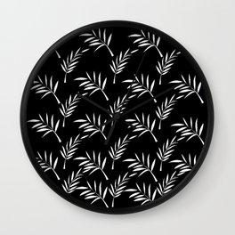 Black and White Leaf Design Wall Clock