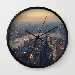 Sunset CityScape Wall Clock