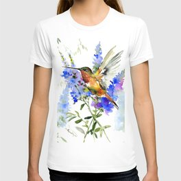 Alen's Hummingbird and Blue Flowers, floral bird design birds, watercolor floral bird art T-shirt