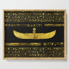 Golden Egyptian God Ornament on black leather Serving Tray