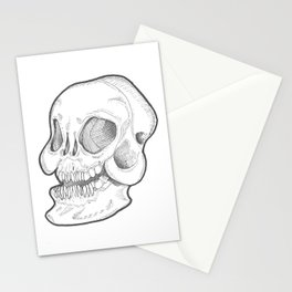 Black and white happy smiley Skull Stationery Cards