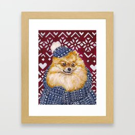 Pomeranian in a Hat and Scarf Framed Art Print