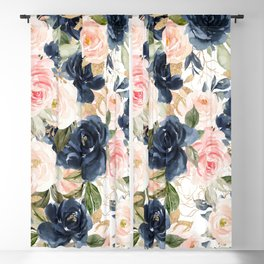 Navy Pink Watercolor Floral Pattern Nursery Flowers Blackout Curtain