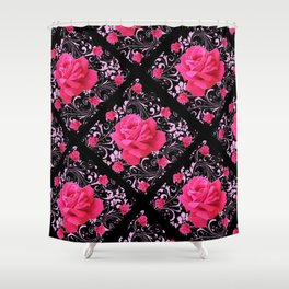 FUCHSIA PINK ROSE BLACK BROCADE GARDEN ART Shower Curtain