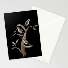 Blue vintage bird - black  Stationery Cards