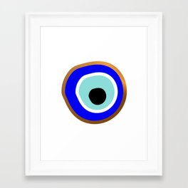 Grecian Gold evil eye in blue on white Framed Art Print