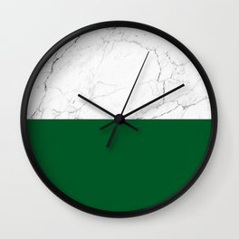emerald green and white marble Wall Clock