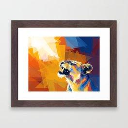 In the Sunlight - Lion portrait, animal digital art Framed Art Print