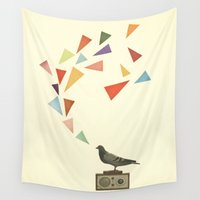 radio Wall Tapestries featuring Pigeon Radio by Cassia Beck